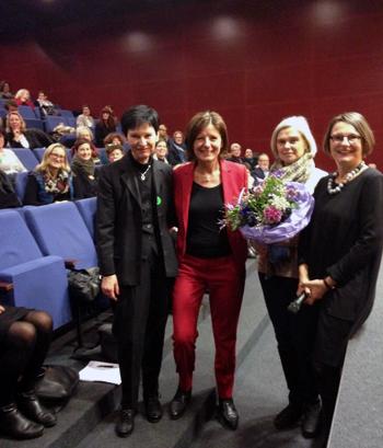 Eva Weickart (Leiterin Frauenbüro der Stadt Mainz), MP Malu Dreyer, Heike Simon (Frauennotruf Mainz) und Anette Diehl (Frauennotruf Mainz)