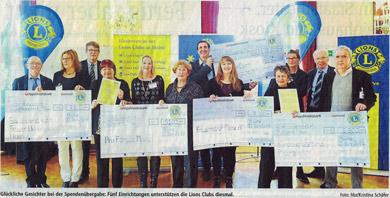 Bild: Spenden der Lions-Clubs Mainz beim Neujahrsempfang